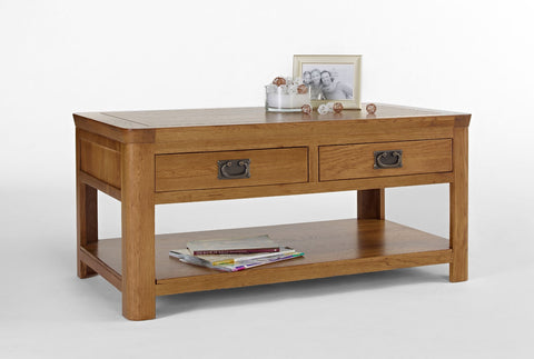 Oak Coffee Table with Drawers