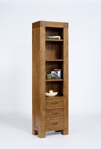 Slim Rustic oak 3 drawer bookcase
