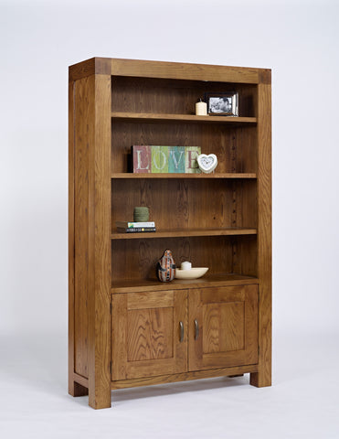 Rustic Oak Bookcase With Cupboard