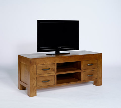 Widescreen Rustic Oak TV Cabinet