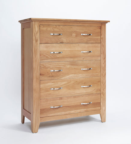 Wide Oak 5 Drawer Chest