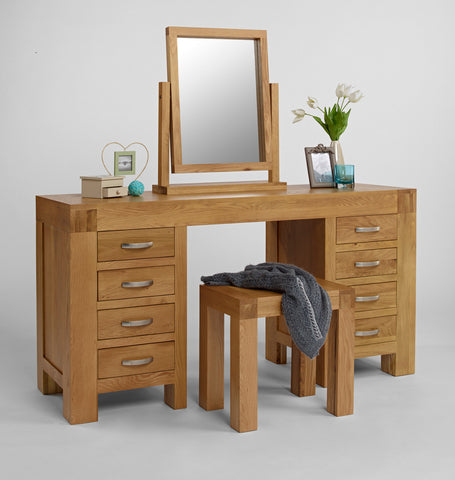 Twin Pedestal Oak Dressing Table
