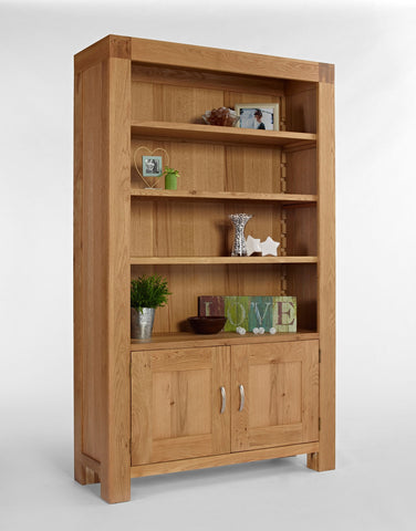 Large Oak Bookcase With Cupboard
