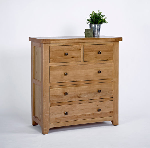 oak 2 over 3 chest of drawers