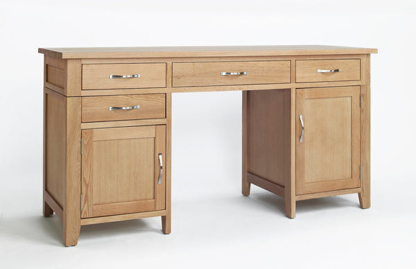 Twin Pedestal oak desk