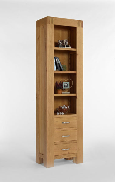 Slim Tall Oak Bookcase With Drawers