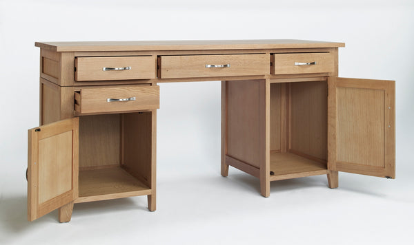 Staplecross - Oak Twin Pedestal Desk