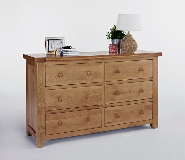 Wide oak chest of drawers