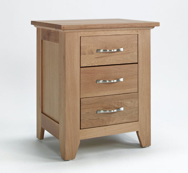 3 Drawer Oak Bedside Cabinet