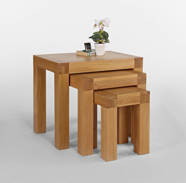 Nest of 3 x Oak Tables
