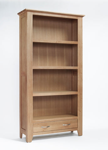 Large oak bookcase with drawer