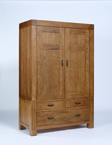 Rustic double oak wardrobe