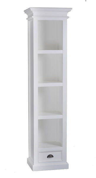 Whitstable Painted - Tall Narrow Bookcase With Drawer