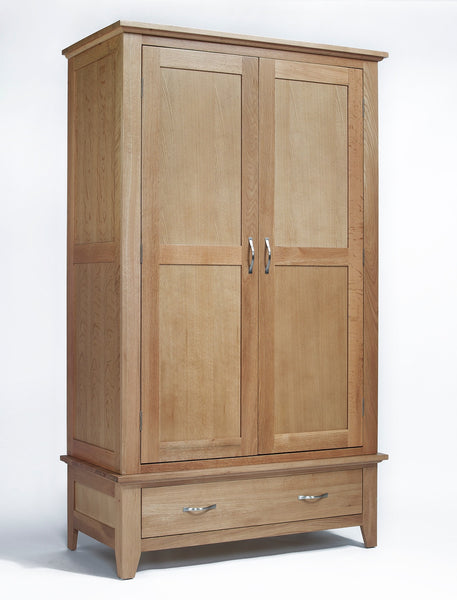 Double oak wardrobe with drawer