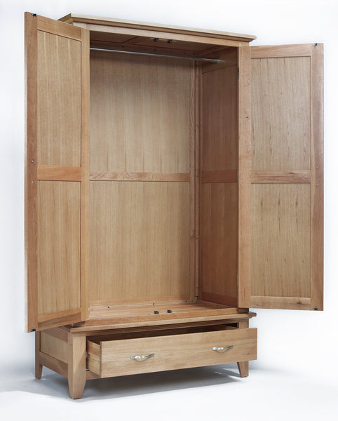 Staplecross - Oak Double Wardrobe With Drawer