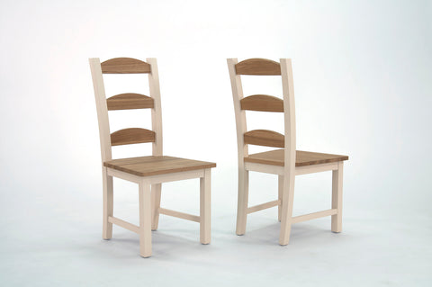 Painted chairs with Ash seats and back slats