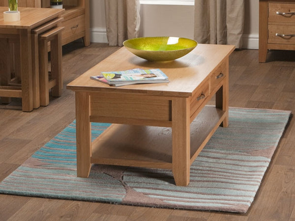 Staplecross - Oak Coffee Table with Drawers