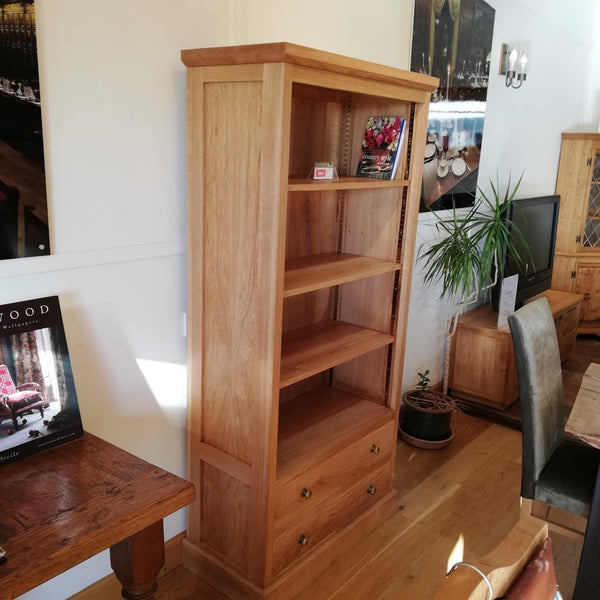 2 Drawer Solid Oak Bookcase angle view