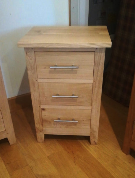 3 drawer oak bedside cabinet front view