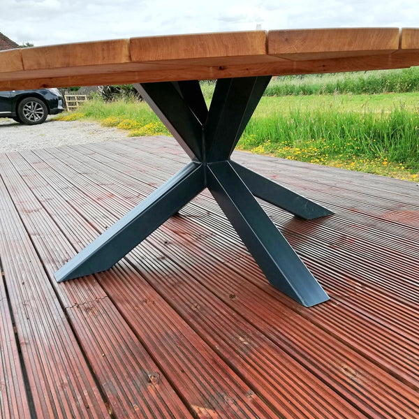 Outside Dining Furniture - Oak And Steel K Table