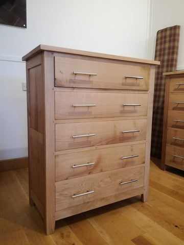 5 Drawer solid oak handmade chest of drawers