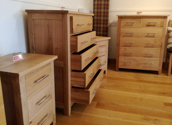 5 Drawer solid oak handmade chest of drawers side view