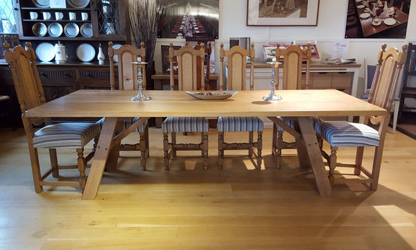 Handmade oak dining table with A-frame base