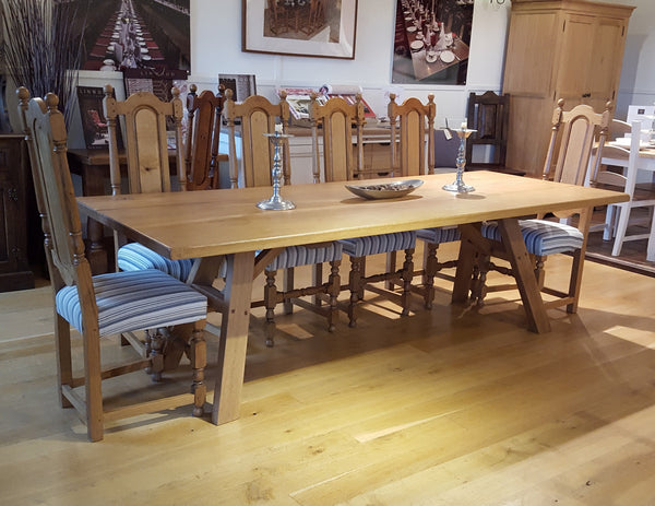 A-frame English oak dining table