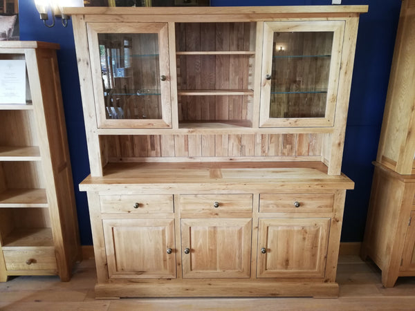 Large 3 door 3 drawer dresser with a 2 door glazed top with adjustable shelving throughout