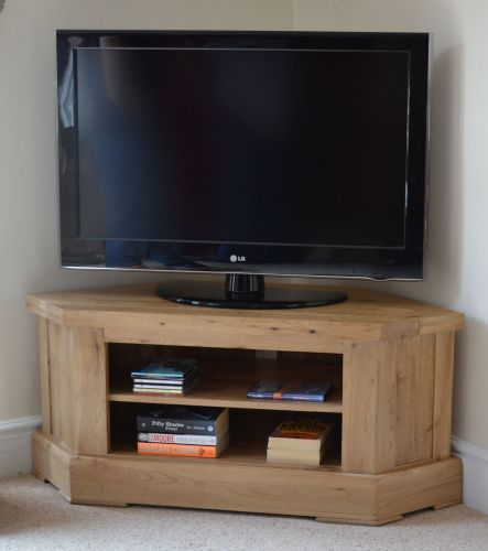 Solid oak corner TV cabinet