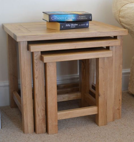 Nest of 3 x solid oak tables