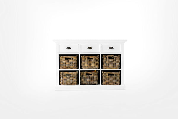 Whitstable Painted - Sideboard With 6 Rattan Baskets