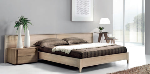 Contemporary solid oak bed