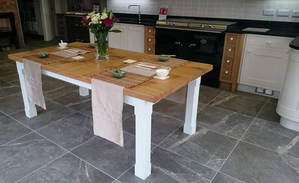 Boarded Oak Refectory Dining Table With Painted Base