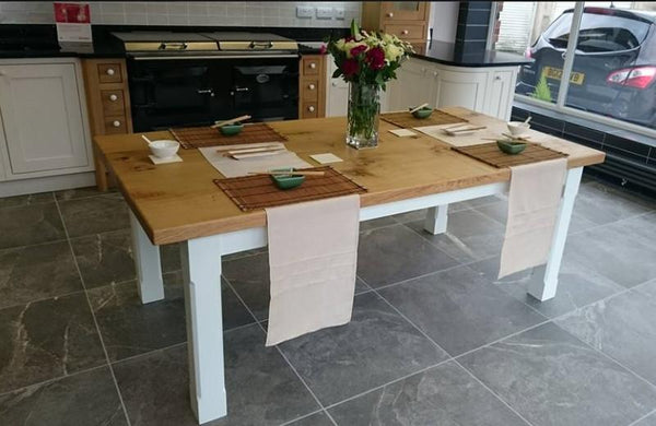 Boarded Oak Refectory Dining Table With Painted Base Room Set