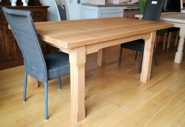 Boarded Oak Refectory Dining Table Angle View