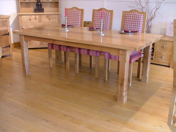 Boarded refectory table with Swailes chairs