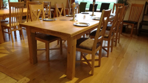 Boarded Oak Refectory Dining Table With Chairs