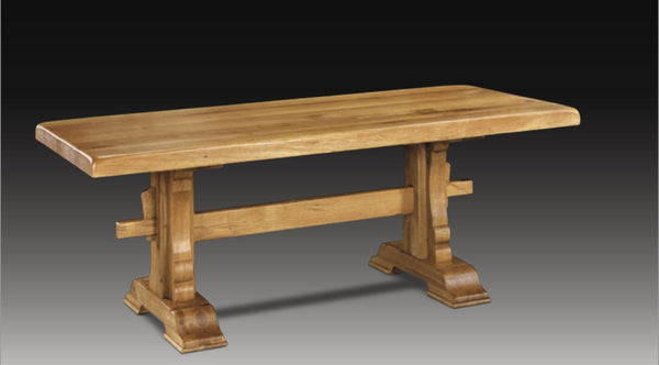 Shaped oak trestle table
