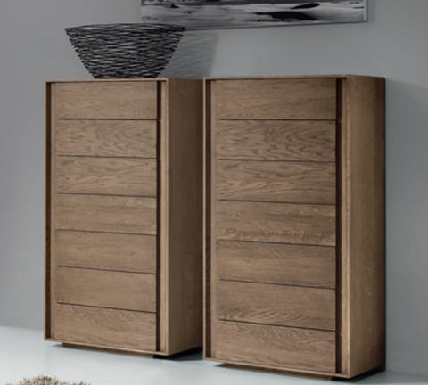 Contemporary slim oak chest of drawers