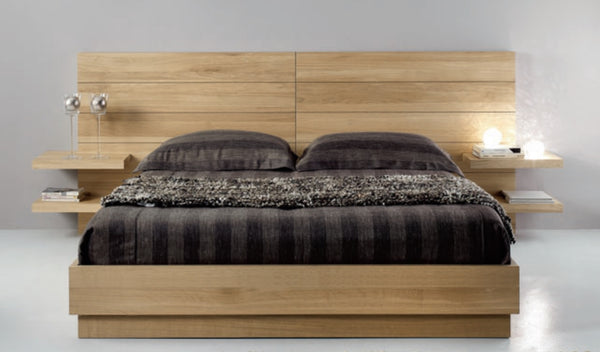 Contemporary Chunky solid oak bed