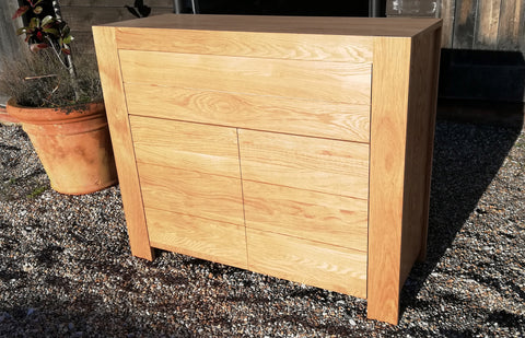 Contemporary Solid Oak 2 door 1 drawer Sideboard
