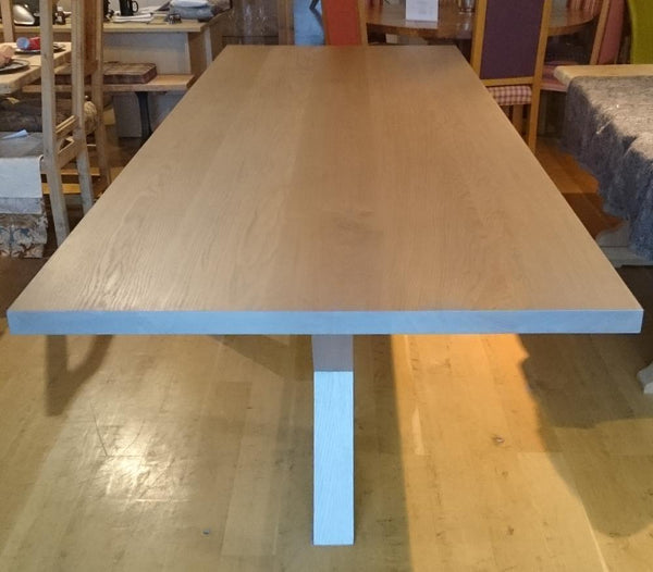 Contemporary angled oak dining table Top