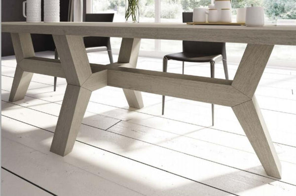 Contemporary angled oak dining table base