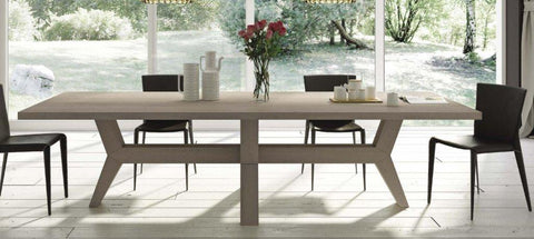 Contemporary angled oak dining table
