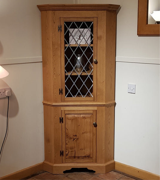 Handmade English Oak Corner Cupboard