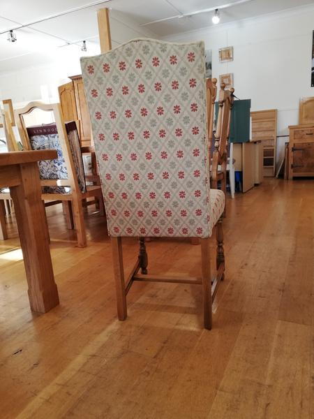 Cranbrook upholstered oak side chair rear view