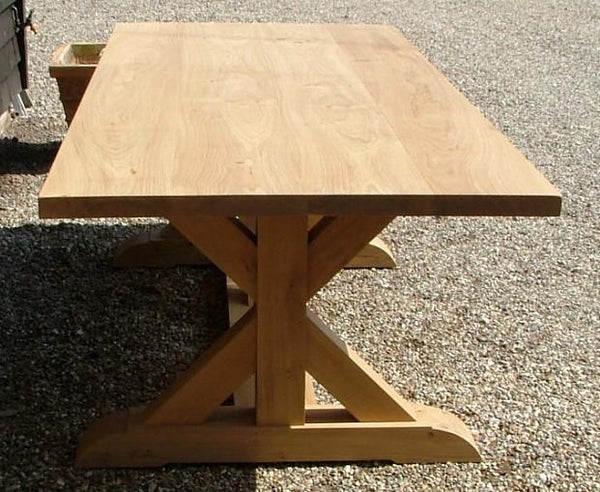 Cross braced oak dining table end