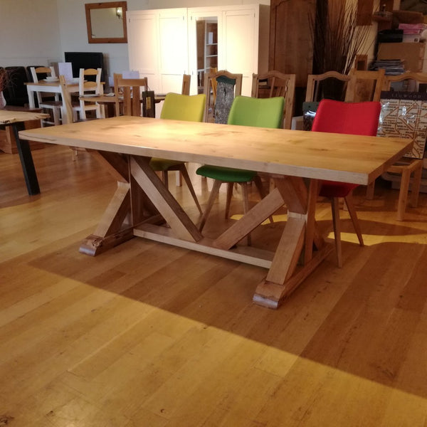Cross braced oak dining table