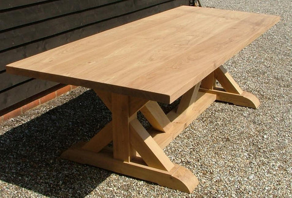 Cross braced oak dining table top